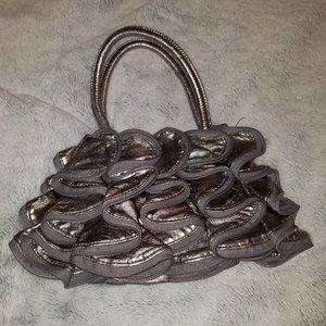 Aldo silver grey ruffle small handbag purse bag